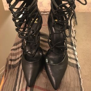 Lace up faux leather heels